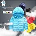 Мода Повседневная Дети ультра легкий зимний белая утка вниз пальто куртки И Пиджаки твердые Куртка для детей куртки детские 5 цвета