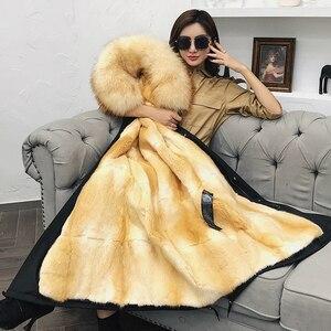 Image 5 - Oftbuy Waterdichte Parka Winter Jas Vrouwen Echte Bontjas Natuurlijke Wasbeer Bontkraag Kap Mink Fur Liner Afneembare Streetwear