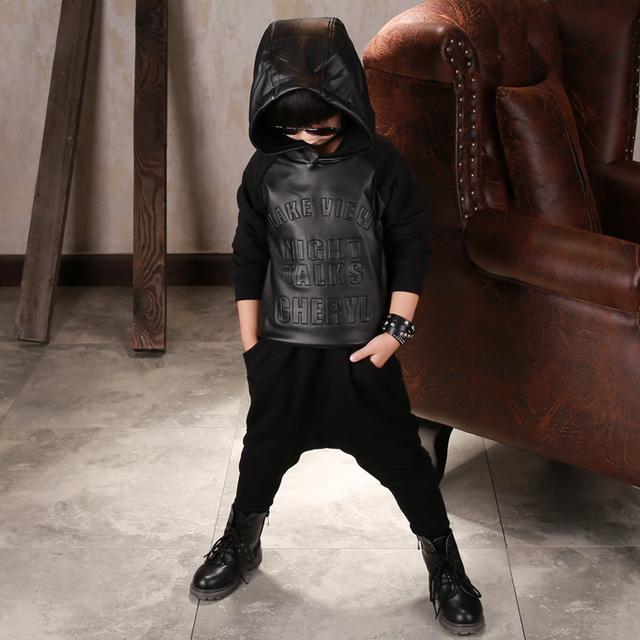 2017 crianças clothing primavera meninos de manga longa camisetas pretas para as crianças algodão pu hoodies dos miúdos camisola casual tops