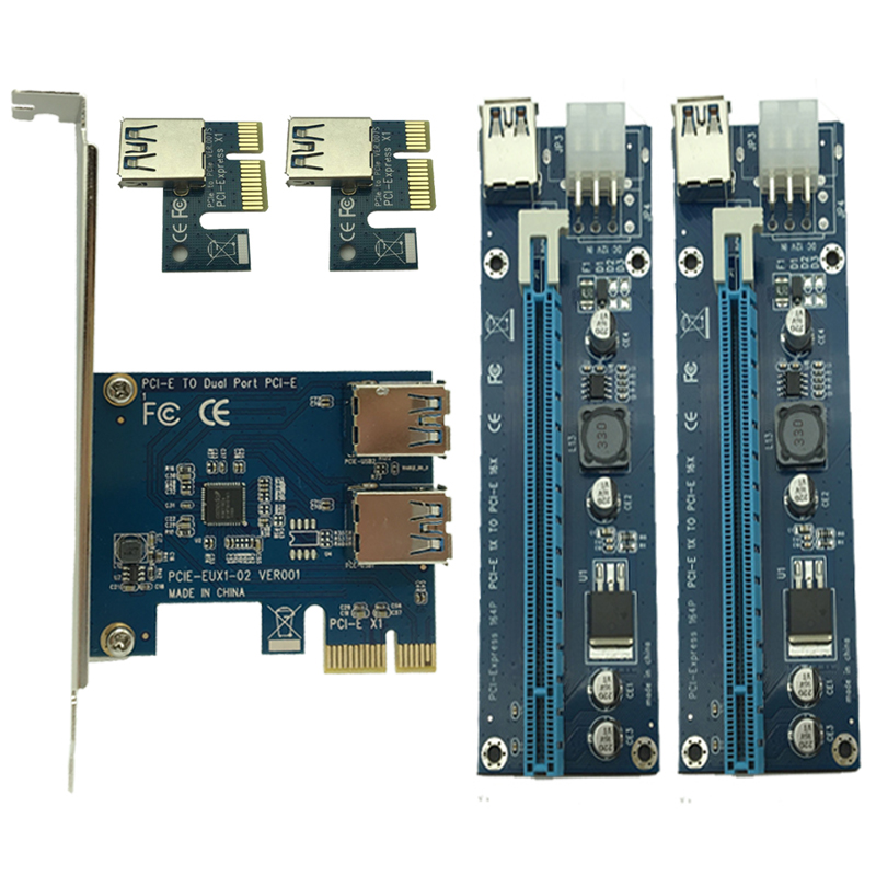 PCI e to Dual USB 3.0 Riser Card PCI Express 1X to 2 16X Riser Card + USB 3.0 Extender Cable SATA 15 Pin 6Pin Power Cable