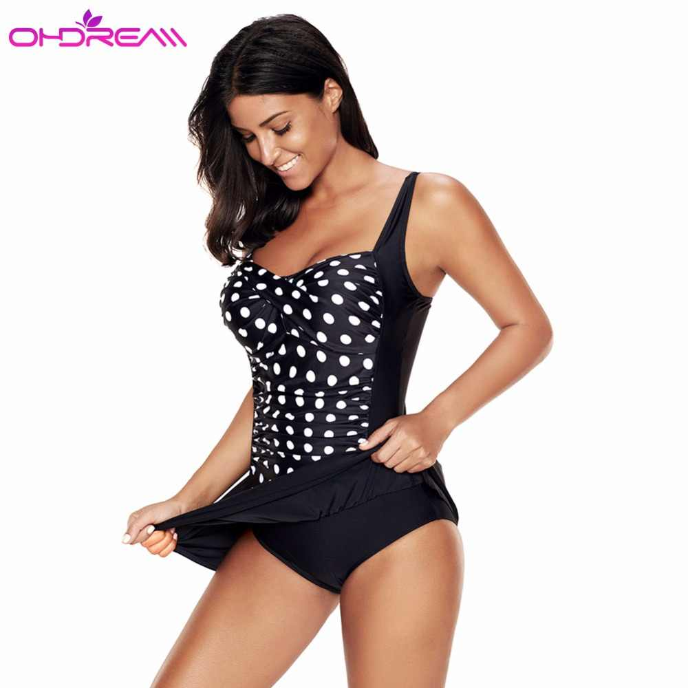 5830dde098424 OHDREAM Women Swimsuit Bikini Dress One Piece Swimwear Plus Size Black  Cover Up Swim Skirt Beachwear