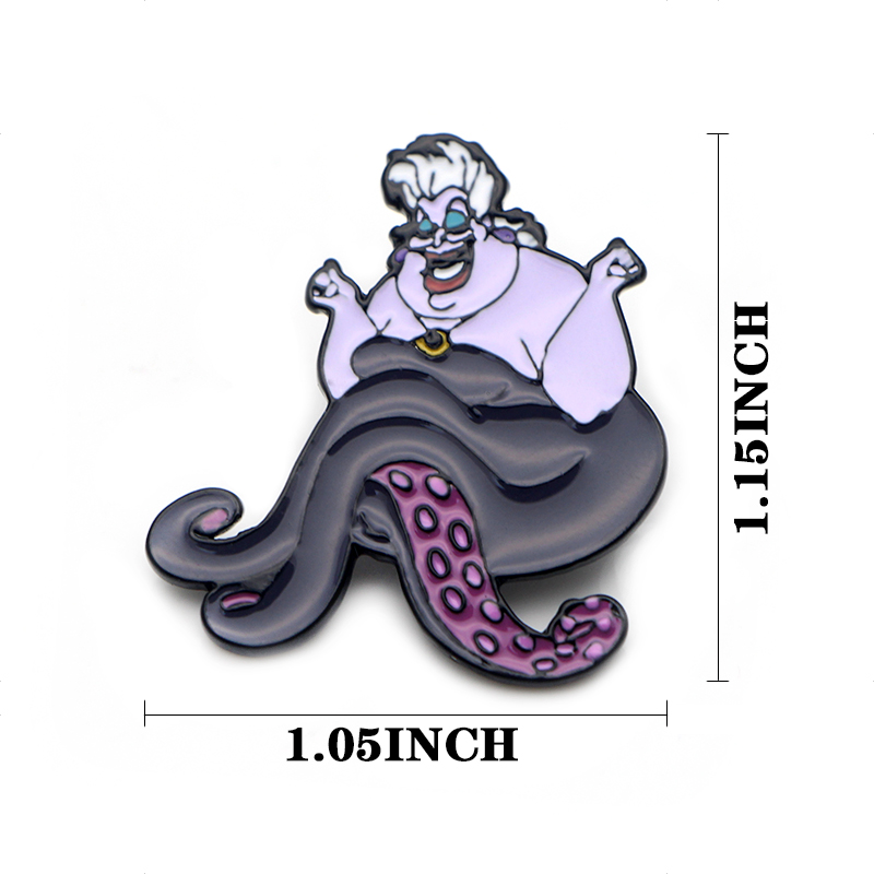 Ursula cartoon funny character Zinc Alloy Enamel pins insignia para backpack shirt cloth bag brooches badges for men women E0628 in Badges from Home Garden