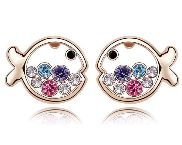 Hot Austrian Crystal Fish Design Cheap Earrings Jewelry ...