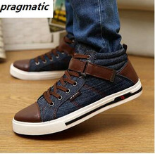 Korean fashion men Denim canvas shoes casual mens hip hop high top shoes flats male Single shoes Zapatillas Lona Hombre Tufli
