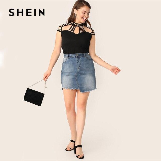 SHEIN Plus Size Black Ladder Cut Yoke Form Fitting Soild Top Blouse 2019 Women Summer Elegant Cut Out Stand Collar Button Blouse 3