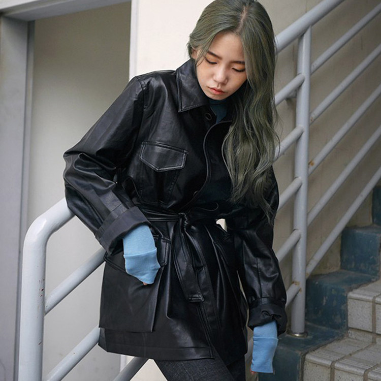 2019 Autumn Winter Coat New Pocket Single Buckle Long Sleeve Slim Waist Belts PU   Leather   Jacket Clothing