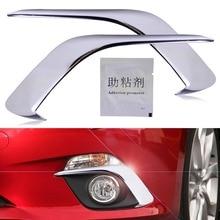 Hohe qualität ABS 2x Frontstoßstange Verchromt Nebelscheinwerfer Lampe augenbraue Abdeckung Trim Fit für Mazda 3 2014 2015 2016 Auto Styling