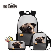 Dropship Dropshipping No Minimum Order School Backpack Dog Prints Lunch Box Cooler Bag Girls Bookbag Pencil Case for Children dispalang cute ballet girls school backpack and lunch pouch set pretty bookbag insulated cooler bag for children pencil case kid