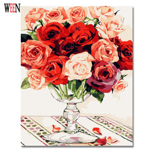 Gorgeous Roses Coloring by Numbers Oil Painting on Canvas Wall Cool Gift DIY Digital Decorative Picture