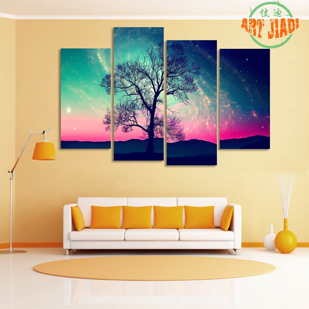 3 4 5 Pieces/sets Canvas Art Andromeda Galaxy Over Earth Space ...