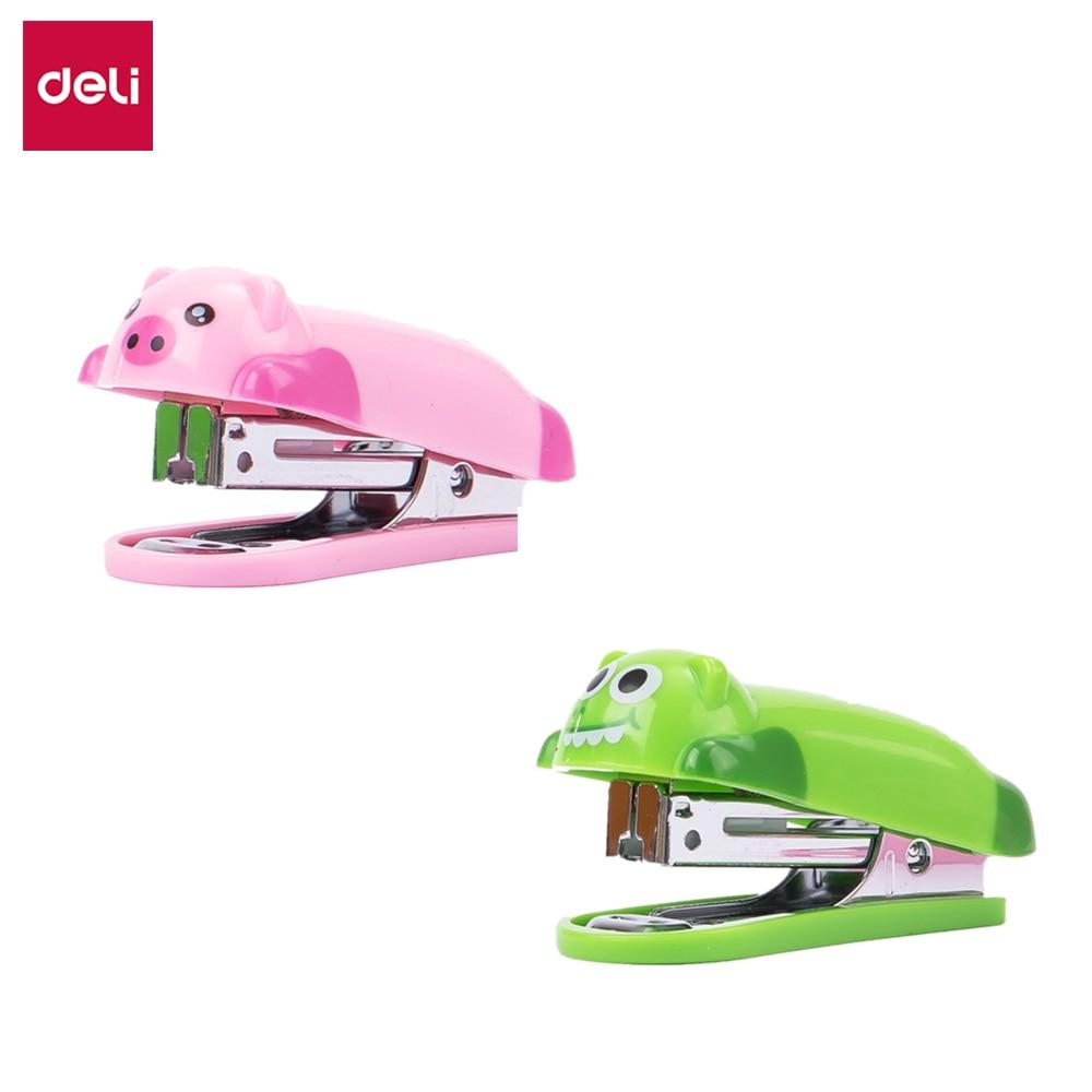 DELI Mini Stapler Animal Cartoon Deli 0452 1 Set With Staples Cute Stapler Stationery Office Supply School Accessories