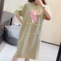 mori girl Women short sleeve pink panther and striped print pocket hoodie sweatshirt dress Summer cotton loose tshirt dress