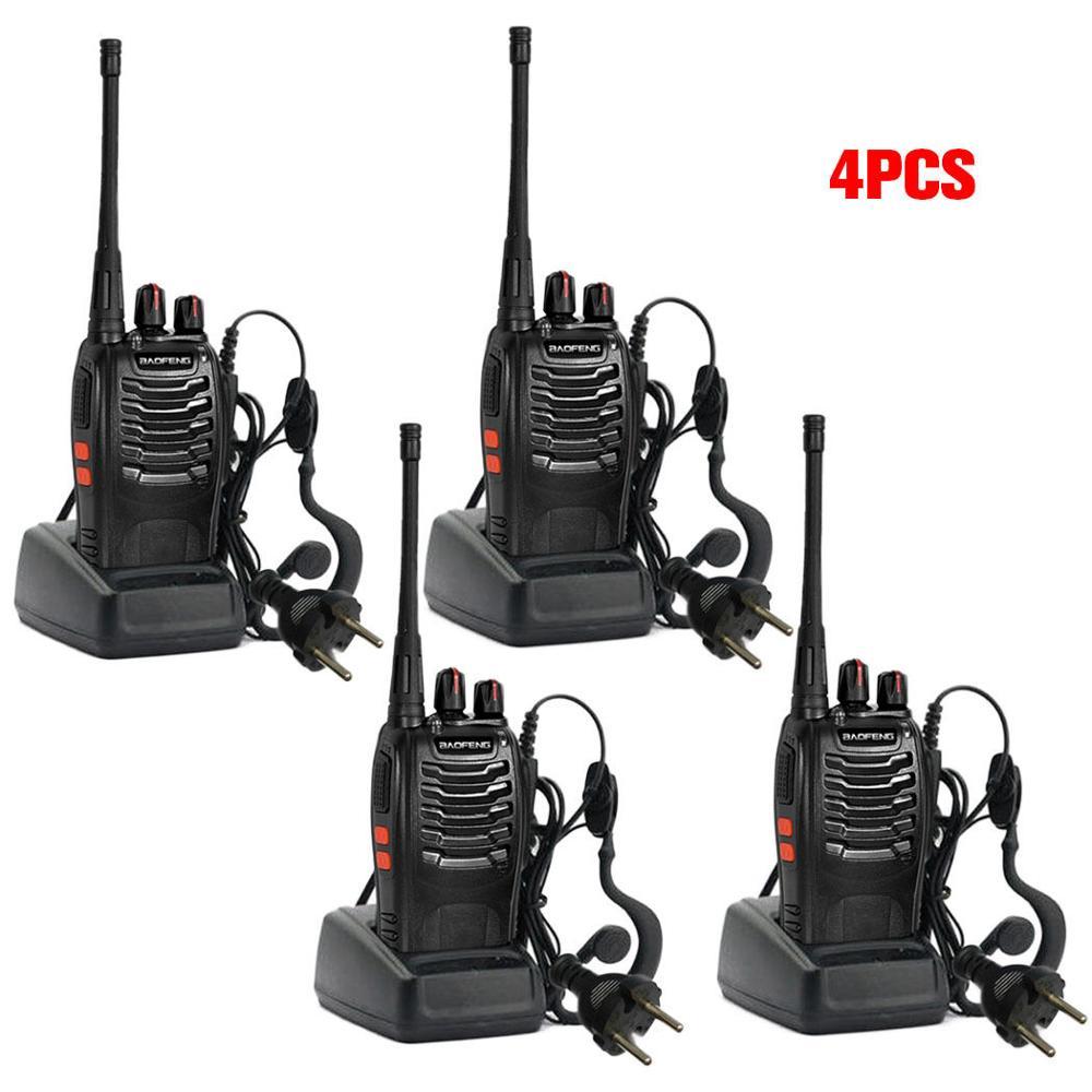4 x $TERM impacto Baofeng BF-888S de larga distancia Walkie Talkie de UHF 400-470MHZ 2-Radio 16CH + auricular Antena de Quad Band de Radio móvil, 144/220/350/440MHz, para walkie talkie de coche QYT KT-7900D, antena móvil de ANT-7900D