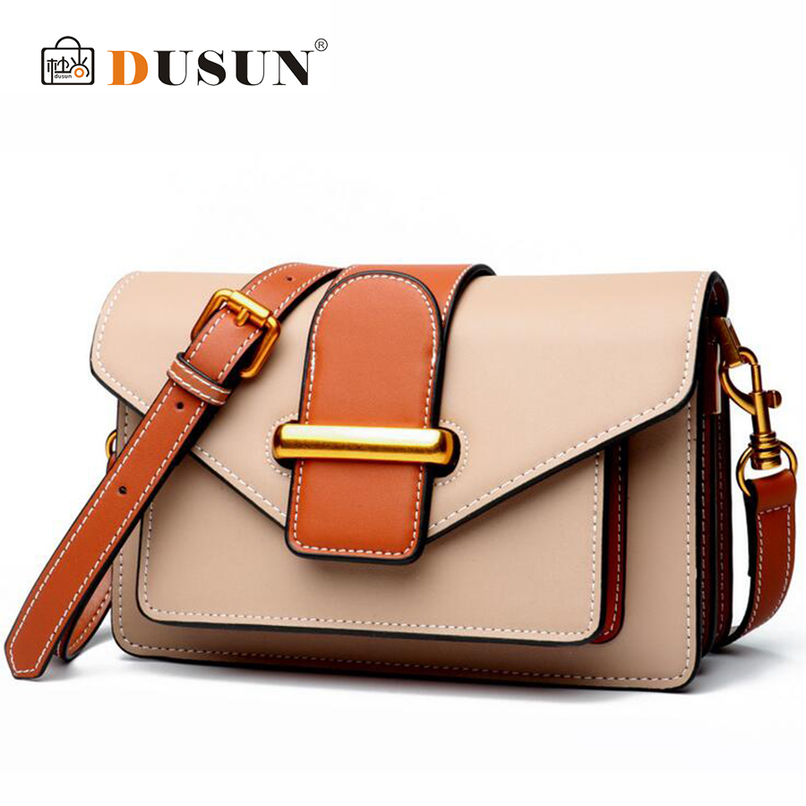 DUSUN Women Flap Fashion Genuine Leather Handbag Soft Cow Leather Shoulder Bags Box Postman Messenger Bag Female Retro Designer цена 2017