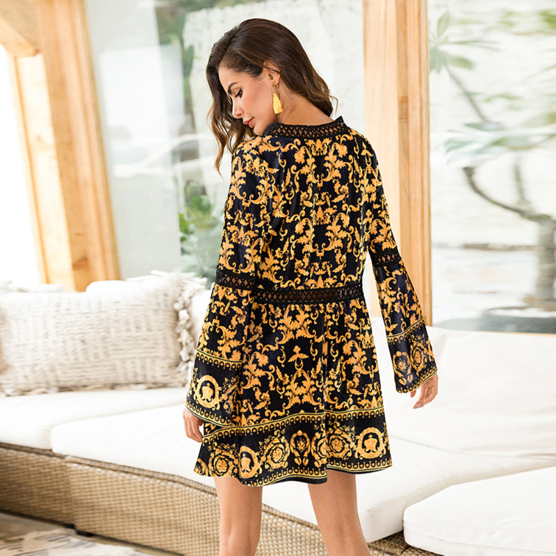 Women High Quality Sexy Dress Hollow Out Autumn Woman Dress Gold Flower Printing Ladies Dresses Velvet Vestido De Festa Y2147 in Dresses from Women 39 s Clothing