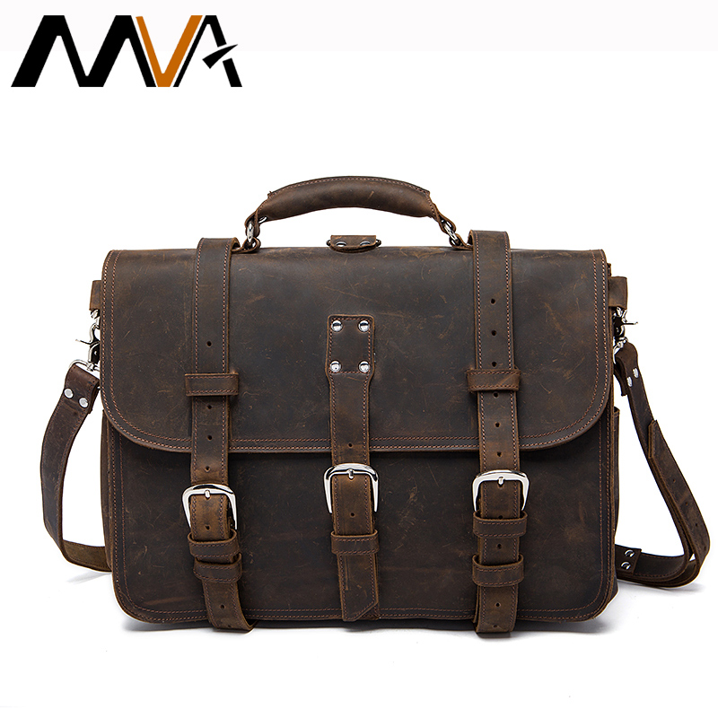 MVA Crazy Horse Man Briefcase Genuine Leather Men Laptop Bags Messenger Bag Leather Men Business Briefcase Laptop Bags Male Bag joyir genuine leather men briefcase bag handbag male office bags for men crazy horse leather laptop bag briefcase messenger bag