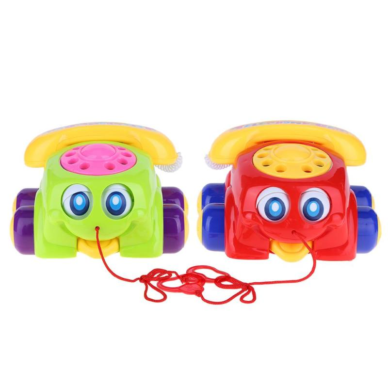 Kids Fun Colorful Plastic Cute Pull Telephone Car Kids Educational Toy for Girls Boys Baby Ideal Birthday Gift Random Delivery