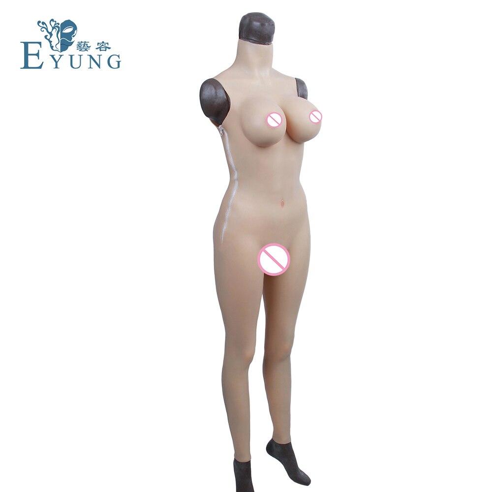 YR-B9 G-CUP mulheres falso da vagina de silicone Realista, Zentai bodysuit fêmea para crossdresser, travestis, transexuais, falso buceta