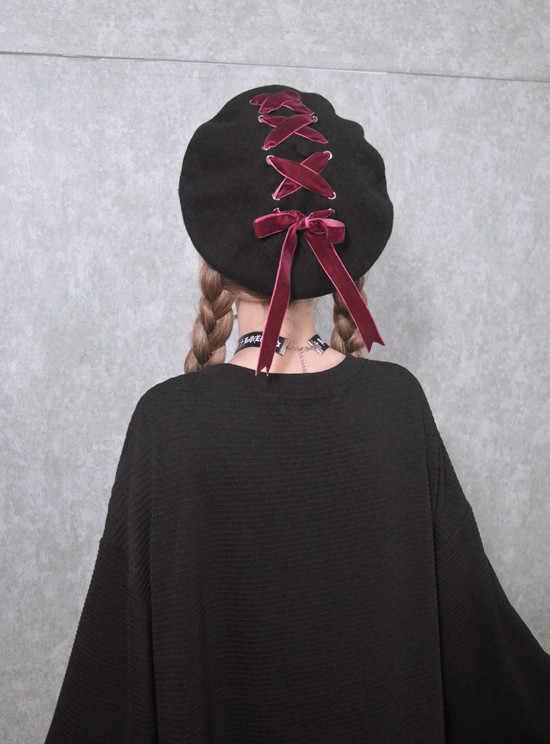 ... Women Sweet Cute Berets Female Hats Soft Macaron color Ribbon Woolen  Lolita Beret Vintage Soft Straps f353b22eb08