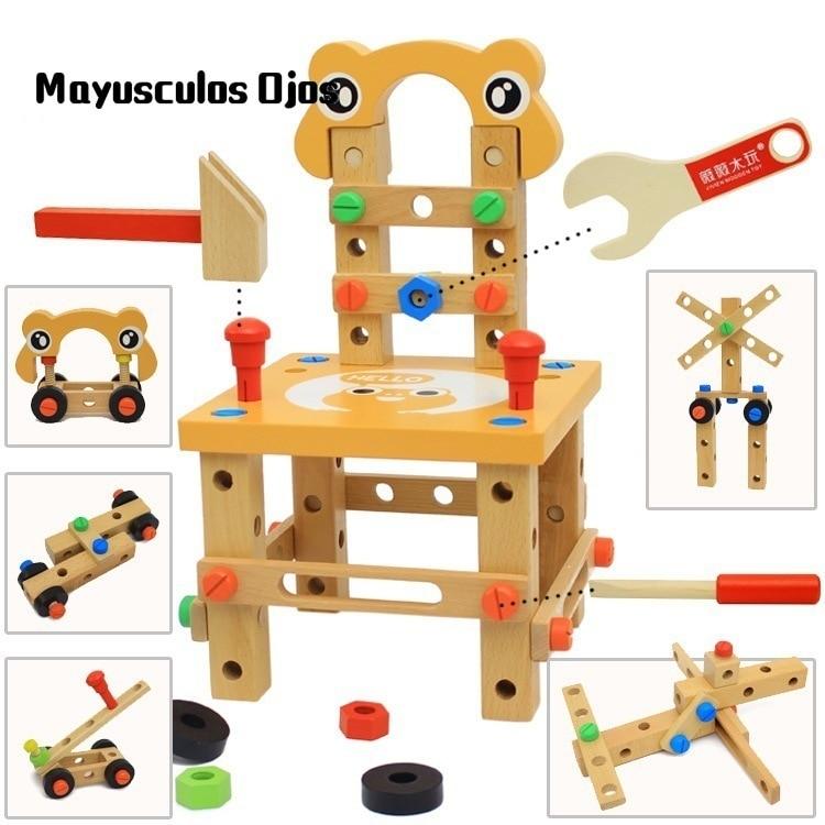 ZH 1PC Multi-functional Disassembly Luban Chair Nut Tool Assembling Kit Children DIY Manual Assembling Educational Toys