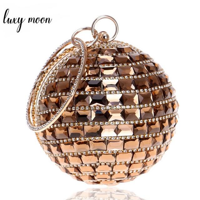 New Women Evening Bags Clutch Purse Luxurious Diamonds Circular Clutches Fashion Lady Handbags Chain Shoulder Bag Wedding Bag