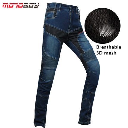 Summer Motorcycle Trousers Elastic Off road Riding Jeans For Men Kneepad Motorbike Jeans 3D Mesh Breathable Moto Jeans