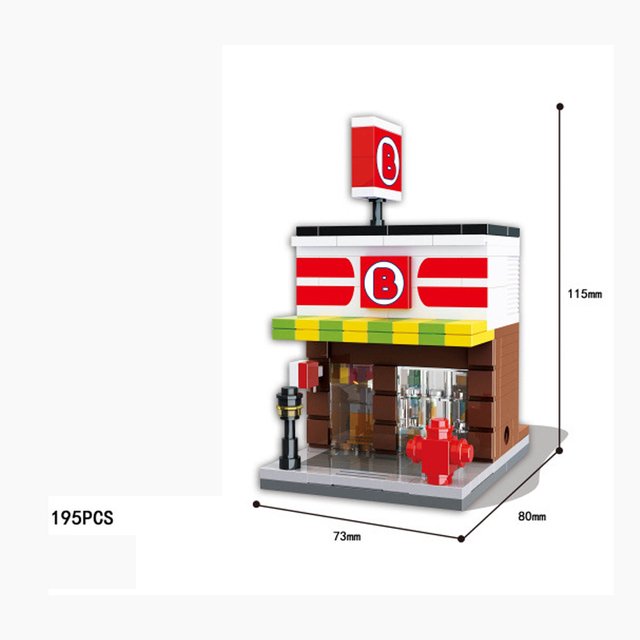 Us 888 42 Offcity Street View Building Block Pepsi Apple Store Mcdonalds Pizza Hut Dinosaur Museum Star Coffee Cola Convenience Shop Toys In