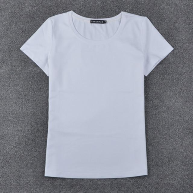 9a0aba2294 T-shirts casuais para as mulheres de Cor Pura Senhora camiseta de Algodão  Confortável t