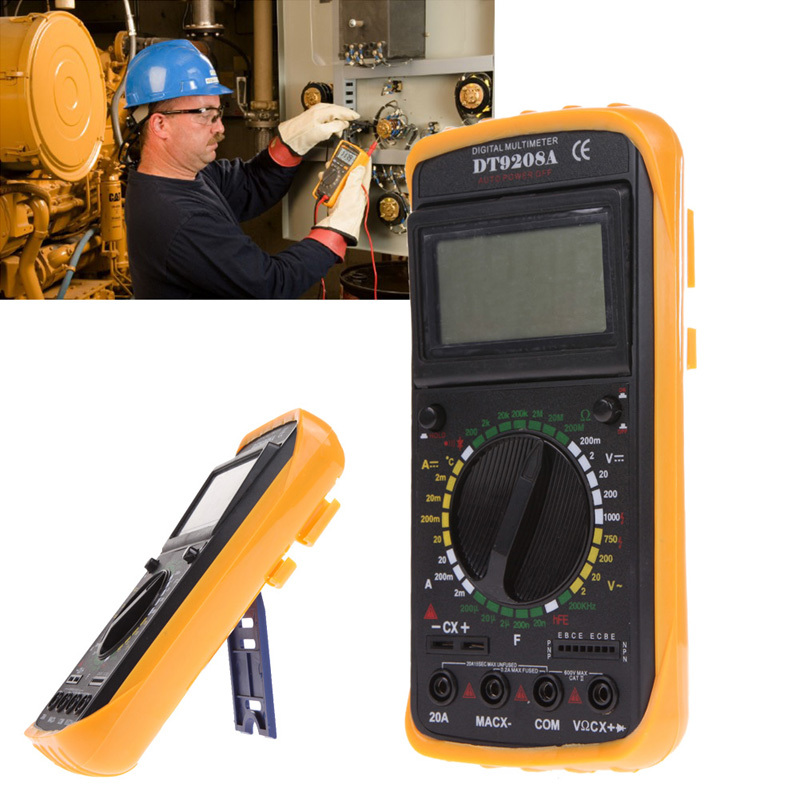 DT9208A LCD Display Professional Handheld Voltmeter Ammeter Ohmmeter Capacitance Meter Temperature Tester Digital font b Multimeter