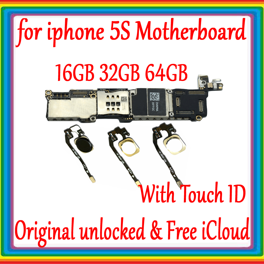 Para iphone 5S desbloqueado Motherboard Mainboard Com Toque ID/NO Touch ID, 100% Original para iphone 5S Boa placa Lógica Testado