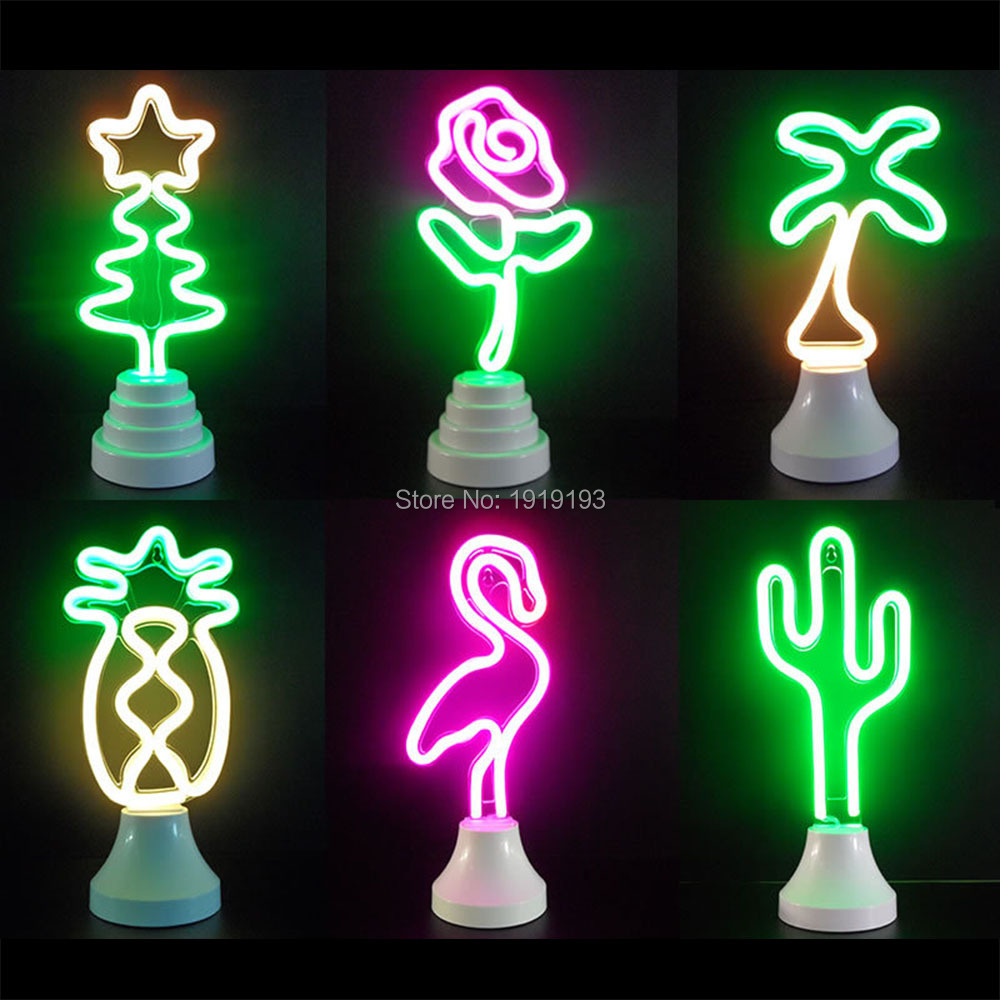 Neon Lights Flamingo Night Lights Cactus Pineapple Big Mouth Birds Rainbow Atmosphere Neon Table Night Lamp Neon Modeling Lamp