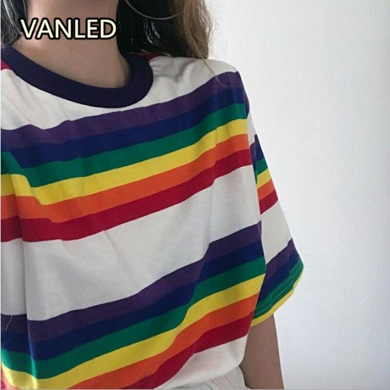 Fashion 2018 Korean Chic New Rainbow Stripe Cotton T-shirt Loose Casual Summer Women T-shirts