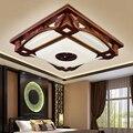 Деревянный потолочный светильник в китайском стиле  светодиодные прямоугольные антикварные шерстяные классические лампы