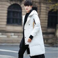 The 2018 men's coat winter fashion jacket long white jacket thickened knee Korean winter new DF1346