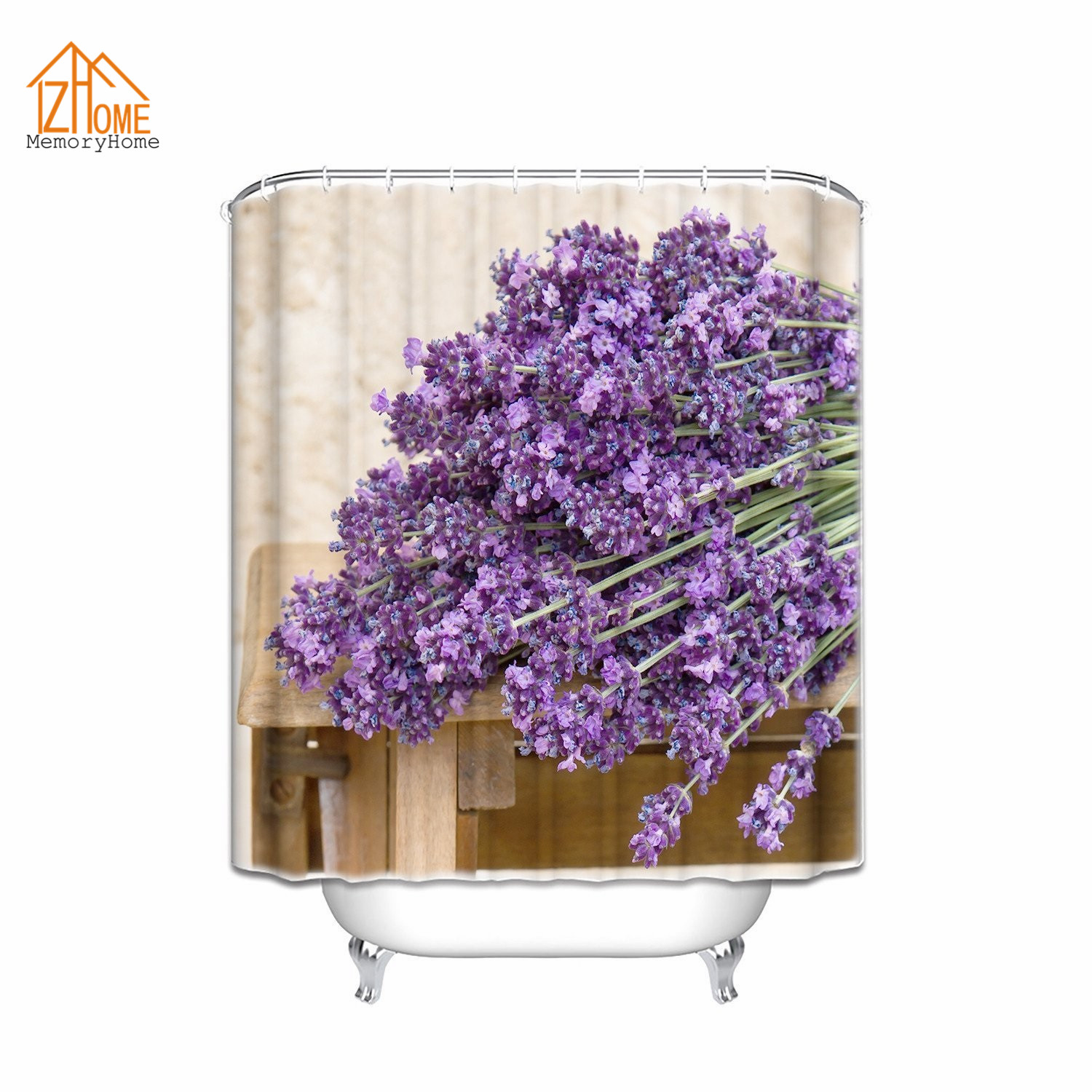 memory home customized shower curtain bouquet of purple lavender flowers bathroom curtains waterproof polyester fabric