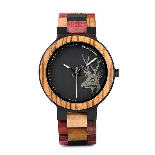 Бобо птица кварцевые часы для мужчин reloj mujer лось гравировка деревянные женские часы в деревянной коробке relogio masculino отличный подарок для влюбленных - Цвет: Mens 44mm