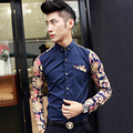 2017 new men's floral shirt Male fashion stitching casual long-sleeved shirt Male personality nightclub designer shirt
