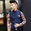 2017 nova floral dos homens camisa Masculina camisa moda costura casual camisa designer de longa-camisa de manga Masculino personalidade boate