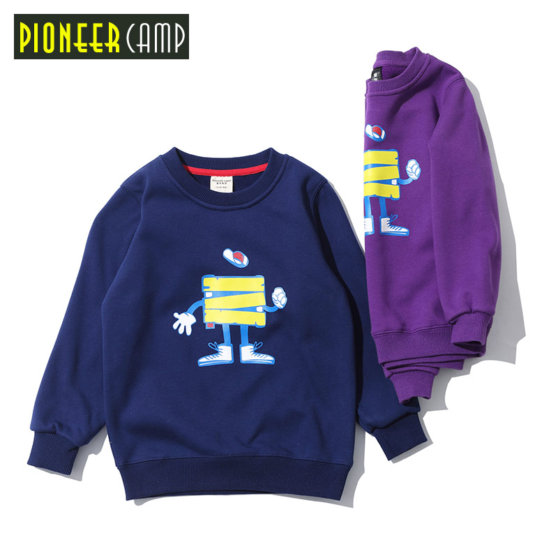 Pioneer Camp Kids New Arrival 4-14Y Boys hoodies Sweatshirt Children Fashion thicken t shirts for Boys girls quality tops blue