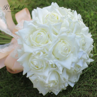 PEORCHID Brand New Pearls Rose White Bridal Bouquet Real Touch Pink Wedding Bouquet Artificial Bridesmaid Hand Hold Flower