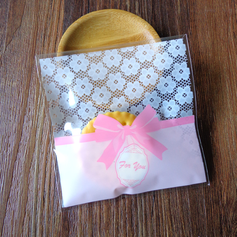 Clear Dots /& Lace Bow Homemade Cookie Accessories Party Self-Adhesive OPP Bags