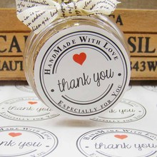 35mm Diameter Wholesale DIY Thank You White Paper Sticker Label 100pcs /Lot Round For Hand Made Gift Cake Candy Rated 5.0 /5 bas