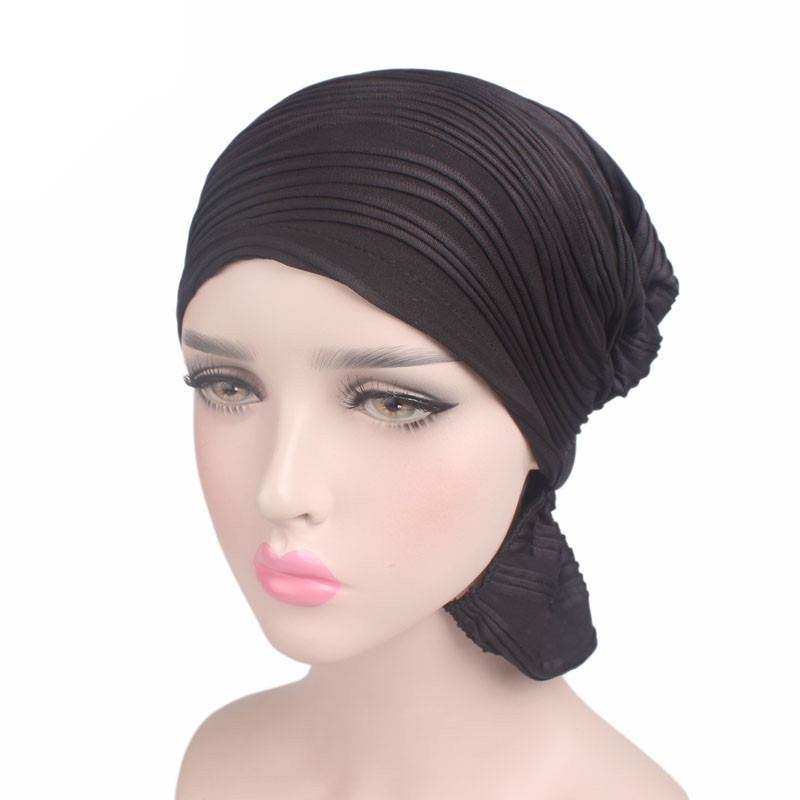 New Muslim Women Solid Cotton Ruffle Turban Hat   Headwear   Cancer Skull Chemo Beanies Caps Head Wrap Hair Loss Cover Accessories