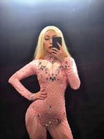 Sparkling Crystals Jumpsuit Sexy Leotard Rompers Bar Party Performance Female Costume Singer Dancer Stage Star Women Bodysuit