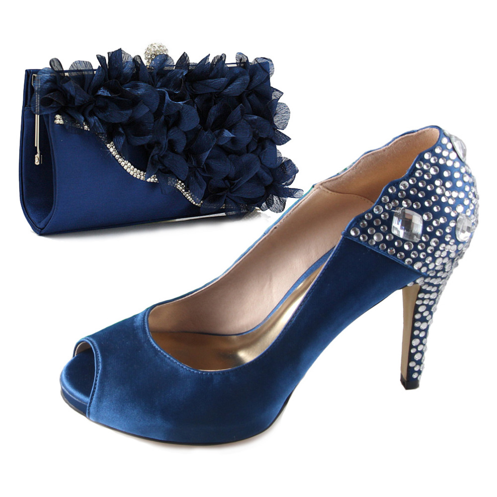 Sapphire blue rhinestone crystal shoes open toe with matching 3D flower hangbag clutch for wedding party banquet evening dress