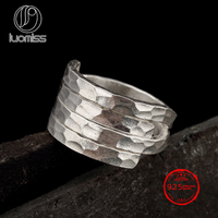 S925 sterling silver Thailand handmade silver hammer ring personality unique wild ladies ring wholesale