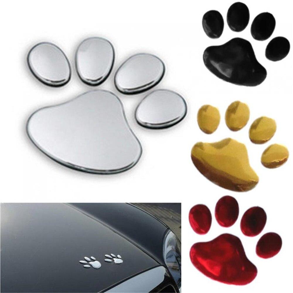 1 Pair Car Sticker Dog Paw 3D Animal Dog Cat Bear Footprint PVC Car Sticker Nick Cover Sticker For Car Auto Motorcycle Decor