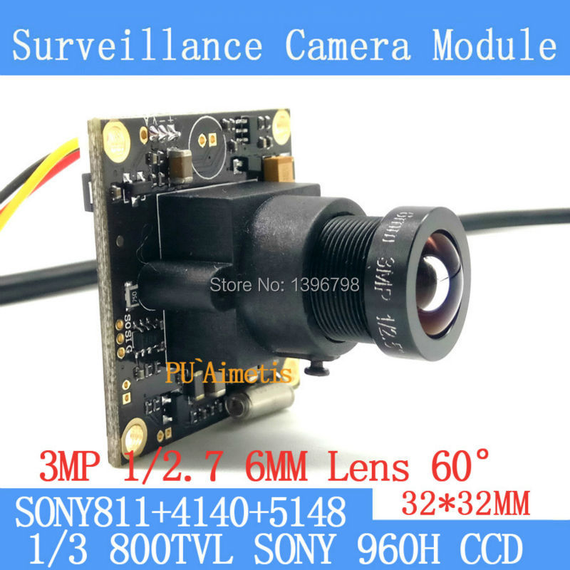 32*32mm Surveillance camera 800TVL 1/3 Effio CCD Sony 811+4140+5148 CCTV camera module,3MP+6mm lens 60degrees+BNC/OSDCable inventory clean up economy lower illumination surveillance system sony ccd 800tvl board for cctv camera