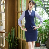 Plus Size 4XL Formal Business Work Wear Suits Vest + Skirt For Ladies Office Skirt Suits Women Blazers Outfits Spring Autumn