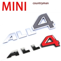Car Styling 3D Metal ALL 4 Emblem Sticker Car Side Fender Badge ALL4 Stickers For MINI
